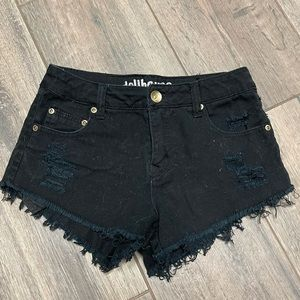 Junior's High Rise Distressed Black Shorts Size 1